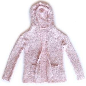 Vintage Fuzzy Pink Hooded Cardigan